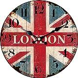 London Britische Flagge Runde Holz Wanduhr Vintage Retro London Street Car No Tick Runde Wanduhr 30 cm 12717