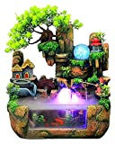 ASY Tischbrunnen, Mini Silent Indoor LED Wasserfall Brunnen Mit Zerstäuber Zen Meditation Desktop Simulation Harz Steingarten Brunnen Bonsai Home Decor Für Büro Schlafzimmer