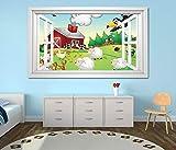 3D Wandtattoo Bauernhof Tiere Kinderzimmer Schaf Wandbild Wandmotiv Wand Aufkleber sticker 11K783_P, Wandbild Größe E:97cmx58