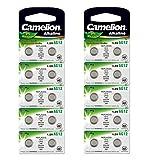 10 Camelion AG12 / LR43 /186 / 386 Knopfzelle Alkaline Alkali Batterie, 10-er Pack, Lange Haltbarkeit (Haltbarkeitsdatum markiert)