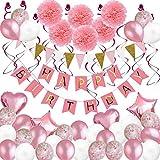 Dream ZX Luftballons für Geburtstagsfeier, Bälle, Dekoration für Mädchen, Frauen, mit Rose, Geburtstagsbanner, Seidenpapier, Blumen, für Geburtstagsfeiern