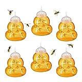 Relaxdays Wespenfalle 6er Set, Lebendfalle Wespen, ohne Lockstoff, zum Hinhängen & Hinstellen, Wespenfänger, orange