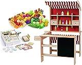 LEOMARK Kaufladen aus Holz - SUPERMARKET - inklusive Kaufladenzubehör, Verkaufsstand mit Verkaufsregal, Frontablage und Tafel und Zubehör + Essen eingestellt Gemüse und Obst 98 Elemente + hölzerne Registrierkasse für Kinder