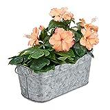 Relaxdays Blumenkasten, für Garten, Balkon & Fensterbank, zum Bepflanzen, Vintage-Optik, Metall, HBT 16x38x19 cm, Zink