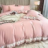Bedding-LZ BettwäSche 4 Teilig 135x200 Baumwolle,Squirting Seide Gesteppte Vierteilige Sommer BettwäSche Prinzessin-Windblock-VorräTe-G_2.0m Bett (4 StüCk)