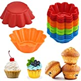 24 Stück Silikonbackformen Obsttorten Quicheformen Kuchenform Kuchenbackform Tortenform Tortenboden Rund Wellenrand