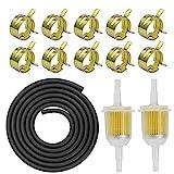 Benzinschlauch 5mm kit inkl Kraftstoffleitung 2M/ Benzinfilter 5mm 2 Stück/Schlauchschellen 10 Stück für PKW Auto Motorrad Rasenmäher R