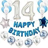 14. Geburtstag Dekoration Blau silberJungen set, Geburtstagsdeko Jungen Blau weiß set 14 Jahr,Kindergeburtstag Deko blau silber 14 Jahr für Jungen Happy Birthday Girlande Blau Konfetti Luftballons