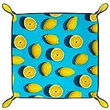HOHOHAHA Würfeltablett, faltbar, PU-Leder, für Würfelspiele, Aufbewahrung zu Hause, Gelb / Zitrone / Blau