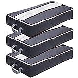 GoMaihe Unterbett Aufbewahrungstasche 90L, Unterbettkommode Vliesstoff Faltbare, Kleideraufbewahrung mit Langlebige Reißverschluss und Griff für Bettdecken, Kissen, Kleidung, Decken, Grau, 3 Stück