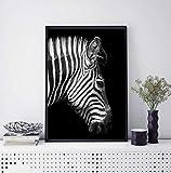 XUSANSHI Kunstdruck auf Leinwand Tierisches Zebra Leinwand-Kunstbild für Wohnzimmer auf Wanddeko für Wohnzimmer Küche Weihnachten (Rahmenlos) 40x50 cm