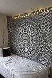 Raajsee Schwarz und Weiß Wandteppich, Indisch Elefant Mandala Psychedelic Wandbehang Boho Indischer Baumwolle Wandtucher Orientalisch, Ein Perfektes Geschenk 54x82 I