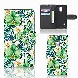 B2Ctelecom Klapphülle für Samsung Galaxy S5 Mini Schutzhülle Orchidee Grün