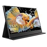 Portable Monitor - 15,8 Zoll Tragbarer Monitor IPS Bildschirm 1920×1080 Full HD mit USB-C/Typ-C/Mini-HDMI für Laptop, PC, MacBook Pro, Xbox, PS4, phone mit Typ-C Vollfunktion, mit Schutzhü