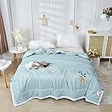 YTREDF Dünne und Leichte Bettdecke für Den Sommer Microfaser,Leicht-Steppbett für Allergiker Geeignet,Super Weiche und Atmungsaktive Schlafdecke PPGE Home,Blau,150x200cm