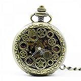 DIHAO Vintage Taschenuhr, antike römische Ziffern Zifferblatt schwarz mechanischer Handaufzug Lange Kettenuhr