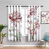 LucaSng Blickdicht Vorhang Wärmeisolierender - Karikatur Blume Schmetterling Pflanze - 160x160 cm - Junge mit Mädchen Schlafzimmer Wohnzimmer Kinderzimmer - 3D Digitaldruck mit Ösen Thermo Vorhang