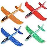 LOVEXIU Segelflugzeug, Flugzeug Styropor, 4 Farben Styroporflieger, Wurfgleiter Styroporflieger, Wurfflugzeug Kinder, Manuelles Flugzeug Spielzeug für Kinder