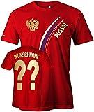 Jayess Russia Fan T-Shirt 103 - Wunsch - Personalisierbar mit Wunschname und Wunschnummer - Herren Rot Gr. L
