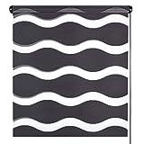 Doppelrollo Wave, Schwarz 105x150cm Duo-Rollo Klemm-Fix mit Klemmträger, Fenster-Rollo/Seitenzug-Rollo ohne Bohren