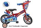 Fahrrad 30,5 cm (12 Zoll), für Jungen, Paw Patrol, 2 Bremsen, PB + Trinkflasche hinten, Kinderhelm, Mehrfarbig