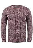 !Solid Philemon Herren Winter Pullover Strickpullover Grobstrick Pullover Zopfstrick mit Rundhalsausschnitt, Größe:L, Farbe:Wine Red Melange (8985)