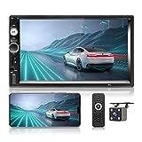 Hikity Autoradio Doppel Din 7 Zoll Touchscreen Funkempfänger Bluetooth-System mit AUX / Dual USB SD Port Unterstützung Spiegel Link + Rückfahrkamera & Lenkradkontrolle (Kein Android, kein GPS)