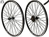 Redondo 26 Zoll Laufrad Set Hinterrad Vorderrad 26' V-Profil Hohlkammer Felge Schwarz + 6-Fach Kranz
