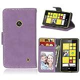 FUBAODA Nokia Lumia 520 Hülle, Schutzhülle Brieftasche Lederhülle, Handytasche e Folio für Microsoft Nokia Lumia 520 (Lila)