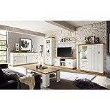 Wohnwand im Landhausstil, Pinie weiß, Wotaneiche, Lowboard, Vitrinenschrank, Sideboard, Highboard