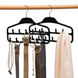 Elong Home Gürtelaufhänger, 2er-Pack, stabiler Gürtelorganizer mit 360-Grad-Drehgelenk, 11 große Gürtelhaken für Schrank, rutschfeste gummierte Gürtelaufbewahrung, schwarz