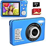 LINNSE Digitalkamera, Kompaktkamera 30MP 2,7-Zoll- mit 8X Digitalzoom Fotoapparat Digitalkamera mit 32 GB SD-Karte und 2 Batterien (Blau