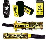 Gibbon Slacklines Classic Line mit Treewear, Gelb, 15 Meter (12,5m Band + 2,5m Ratschenband), inklusive Ratschenschutz, -rücksicherung und Baumschutz, Breite 2'/5cm