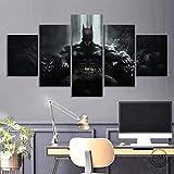WNQMY Drucke Auf Leinwand Leinwand Wandkunst Bild Landschaft Leinwand Malerei 5 Panel Gerechtigkeit Fledermaus Thre Dark Knight Fledermaus Fil