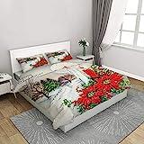 FYVEJI Bettwäsche Set Bettbezug 3-teilig 140x200 cm mit 1 Mikrofaser Bettbezug und 2 Kissenbezug Bettbezug mit Reißverschluss Schließung Rote Weihnachtskerze für Kinder Erwachsene und Teens