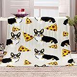 Flanelldecke Kuscheldecke Hund Tier Pizza Sherpa Decke 3D Gedruckt Warm Flauschige Decke TV-Decke Sofadecke Wohndecke Tagesdecke Kinderdecken 130x150cm