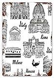 MIFSOIAVV Retro Blechschild Monochrome Skizzenstil Berühmte Orte aus Italien Rom Milano Europäische Architektur Druck Geschenk-Idee für Nostalgie-Fans,aus Metall,Vintage-Dekoration,20x30cm