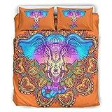 Bohohobo Set Retro 3-teiliges Kissen Elefant Komfort Bezüge Europäisches Muster Dunkle Farbe Dekoratives Bett Kissen Set Weiß 168 x 229 cm
