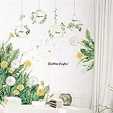 SWECOMZE DIY Wandtattoo Pusteblume, Blumen Grüne Pflanze Wandsticker Wandbilder Löwenzah Aufkleber Wanddeko für Wohnzimmer S
