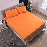 XGguo Atmungsaktive Matratzenauflagen Baumwolle - Matratzen Wasserdichtes Bettlaken Bettnässen Vollpaket-orange_180X200 + 30CM