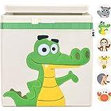 I GO Aufbewahrungsbox Kinder Spielzeugkiste mit Deckel für Kinderzimmer 33x33x33cm, Krokodil