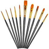Künstlerpinsel Set,10er Pack Nylon Pinsel Kunstmalerei Acrylpinsel Fein Pinsel Art Painting Brush für Aquarell und Gesichtsmalerei DIY Kunsthandwerk Schw
