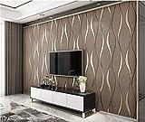 Tapete Kurvenförmige gewellte vertikale Streifen Minimalistische Vliestapete Dunkelbraun Klassisch Geprägte Tapetenrolle für Flur Wände Modern Wohnzimmer, Schlafzimmer,Wände,0.53m x 9.5m