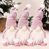 3 Stück Weihnachten Puppe Weihnachten Deko Wichtel Handgemachte Wichtel Figuren Weihnachten Deko, Mini Santa Dolls Süße Plüschtier Sitzende Weihnachtswichtel Gesichtslose Dwarf 30cm (Rosa)