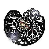 LWXJK American Hipper Schädel Mit Anhänger-Wand-Kunst-Wand-Uhr Gothic Schädel Vinyl Record Wanduhr Halloween-Wohnzimmer-Wand-Dekor -
