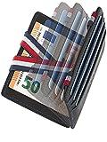 WEST® - Magic Wallet mit Münzfach + Geschenkverpackung - magische Geldbörse kompakt & klein - Trick Geldbörse - extra Starke Geldbänder - dünne Geldbörse mit Münzfach - RFID Schutz (SCHWARZ-BLAU)