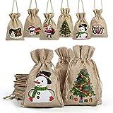 heekpek Adventskalender zum Befüllen, DIY Adventskalender 2020, Jutesäckchen Adventskalender, Weihnachten Geschenksäckchen, 24 Weihnachtskalender Bastelset (A-12 pcs)