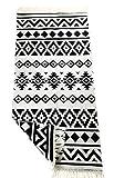 SOLTAKO Teppich Läufer mit Fransen und Muster beidseitig nutzbar Retro Boho Ethno marokkanisch Berber waschbar Vintage Modell Karthago (Schwarz/Ecru), 135x65 cm