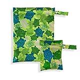 2er Set Wetbags mit süßen Motiven - wasserfeste wiederverwendbare Nasstasche mit Reißverschluss als Beutel und Organiser für Windeln Schwimmsachen Schmutz Wäsche Sportsachen (Grün - Schildkröte)