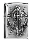 Zippo Feuerzeug 2004290 Nautic Benzinfeuerzeug, Messing, Edelstahloptik, 1 x 3,5 x 5,5 cm